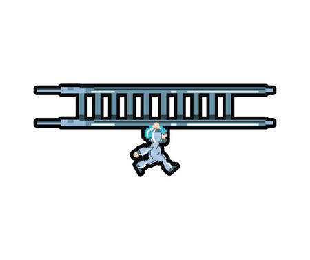 video game avatar pixelated in stairs vector illustration design