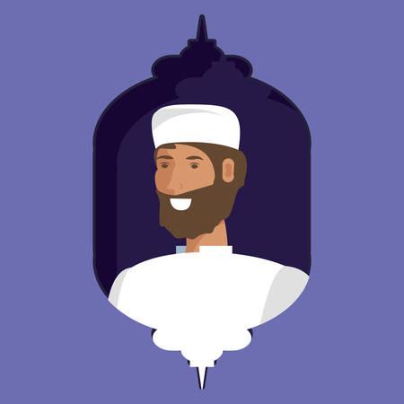 islamic man with beard vector illustration design
