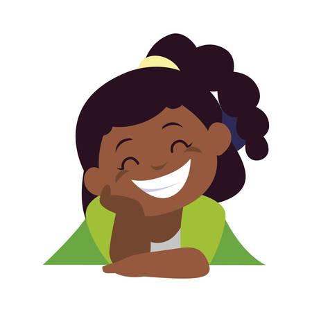 happy little black girl character vector illustration design