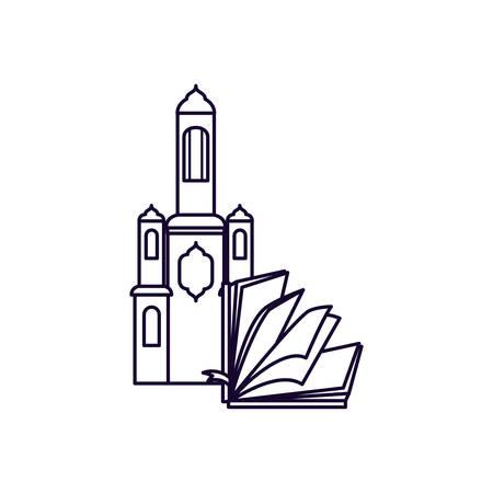 koran book with mosque castle ramadan kareem vector illustration design