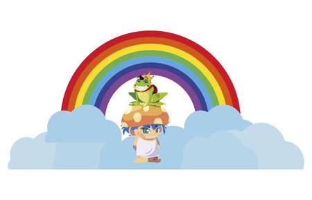 toad prince and fungu elf with rainbow vector illustration design Ilustração