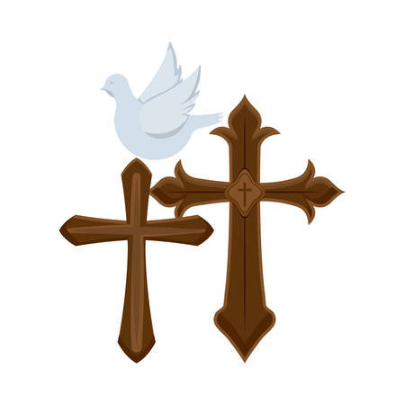 set of crosses catholics with cute dove vector illustration design