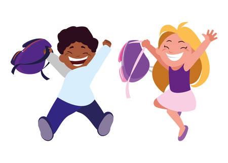 happy little interracial school kids characters vector illustration design