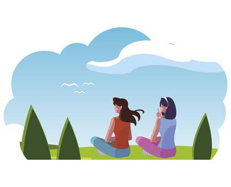 women couple contemplating the horizon in the field scene vector illustration design