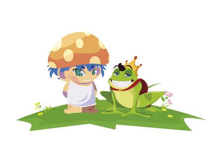 toad prince and fungu elf in garden vector illustration design