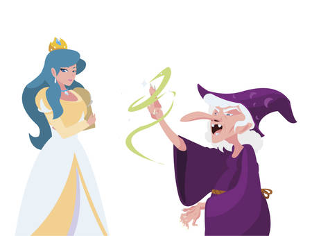 beautiful princess with witch of tales characters vector illustration design Ilustración de vector
