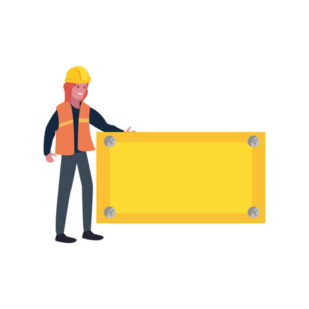 builder with board labour day vector illustration