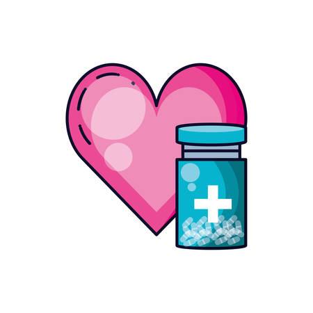 Botella de medicina con corazón aislado icono diseño ilustración vectorial