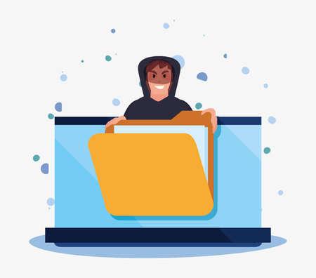hacker man laptop folder file cybersecurity data protection vector illustration