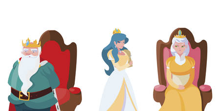 princess with queen and king on throne of tales character vector illustration design Stock Illustratie