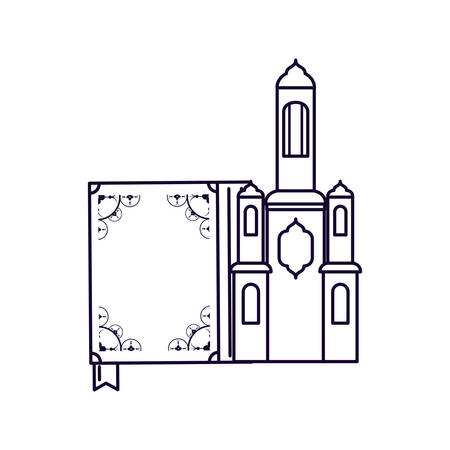 koran book with mosque castle ramadan kareem vector illustration design Imagens - 124086998