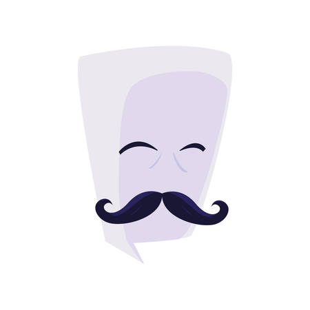 speech bubble with hipster mustache vector illustration design