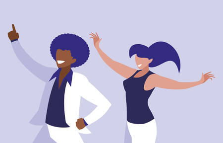 young interracial couple dancing characters vector illustration design