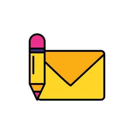 envelope mail with pencil vector illustration design Illustration