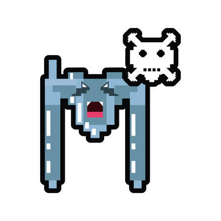 video game spaceship flying with skull danger pixelated vector illustration design