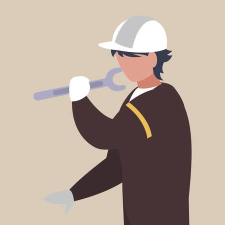 industrial worker with tools avatar character vector illustration design Ilustrace