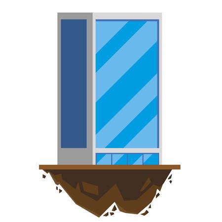 urban building in terrain ground vector illustration design