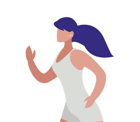 athletic woman running character vector illustration design