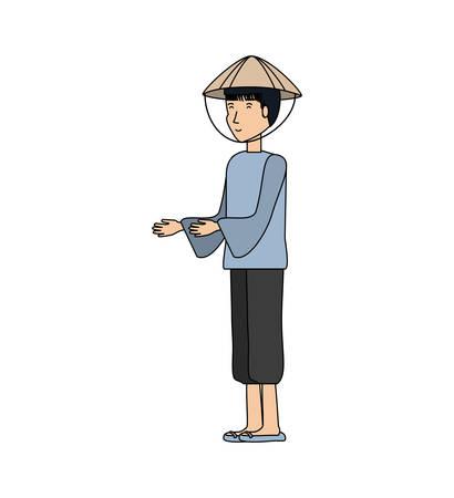 man chinese peasant avatar character vector illustration design Vecteurs