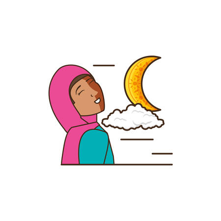 islamic little girl with moon vector illustration design