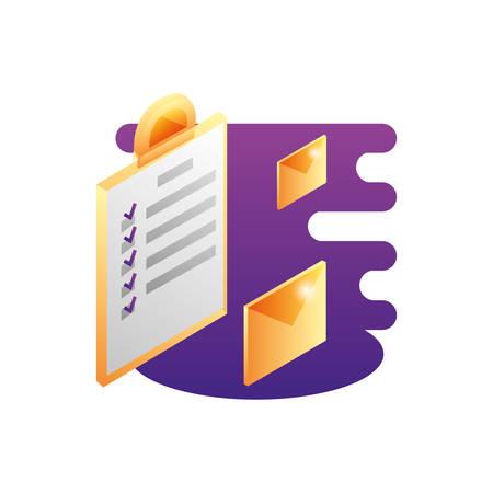 clipboard checklist document with envelope mail vector illustration design Ilustración de vector