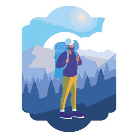 abenteuerlustiger mann mit reisetasche im schneelandschaftsvektorillustrationsdesign