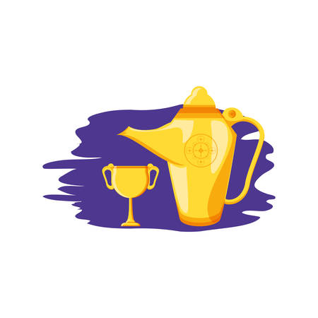 teapot lamp with chalice ramadan kareem vector illustration design Stock Illustratie