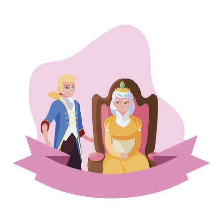 prince charming with queen on throne characters vector illustration design Vectores