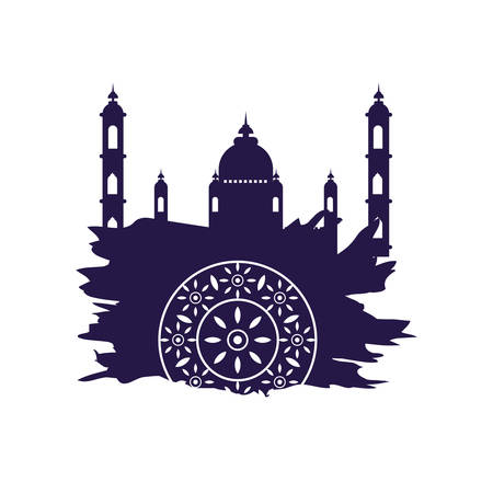decorative mandala with mosque ramadan kareem vector illustration design Illustration
