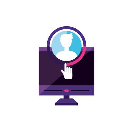 desktop with male profile account  vector illustration design