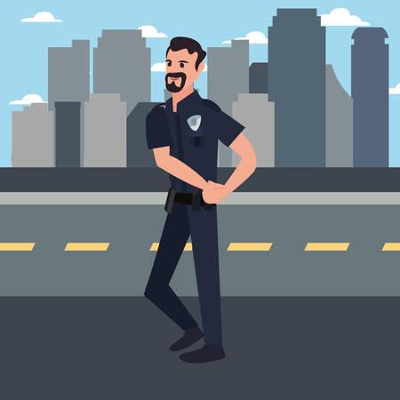 policeman city street building urban background vector illustration