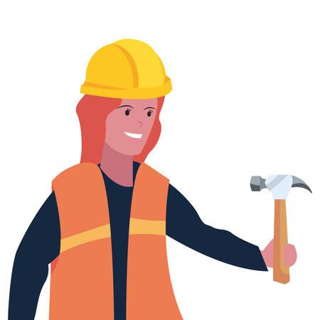 construction worker female hammer vector illustration design Vettoriali