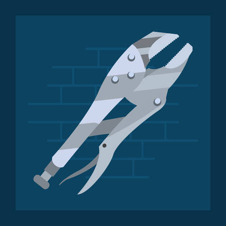 adjustable spanner tool wall brick vector illustration design