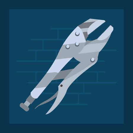adjustable spanner tool wall brick vector illustration design