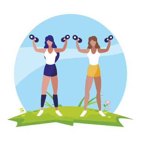 athletic women weight lifting in the camp vector illustration design 矢量图像