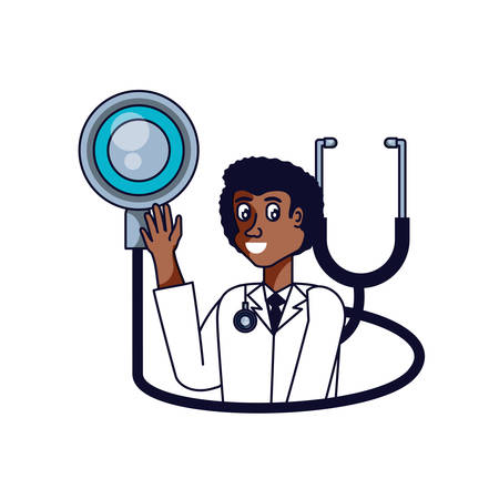 afro doctor professional with stethoscope medical vector illustration design