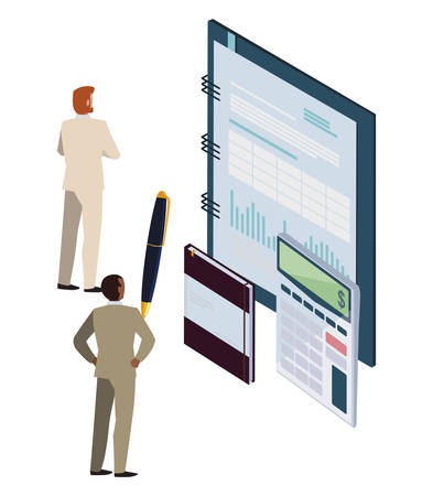 business people with office notepad and set items vector illustration design