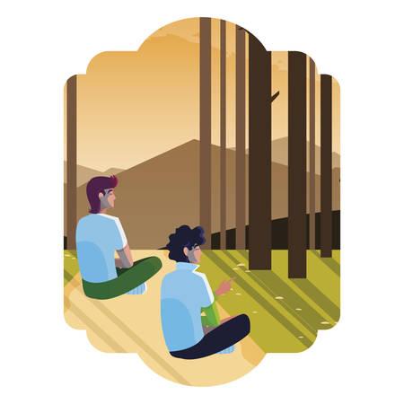men couple contemplating horizon in the forest scene vector illustration design Illustration