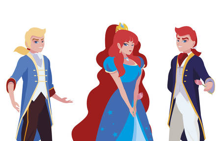 beautiful princess with princes of tales characters vector illustration design