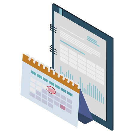 office notepad with calendar vector illustration design 矢量图像