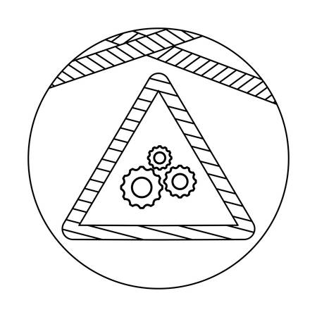 signaling with gears in frame circular vector illustration design Ilustração