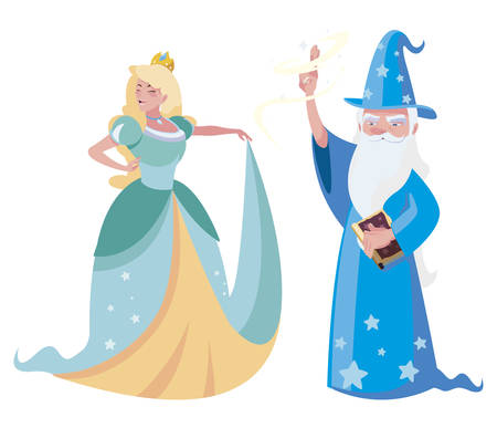 beautiful princess with wizard of tales characters vector illustration design