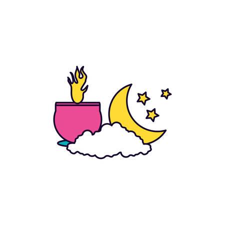 ramadan kareem candle lights at night vector illustration design Ilustração