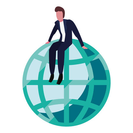 businessman sitting on world on white background vector illustration