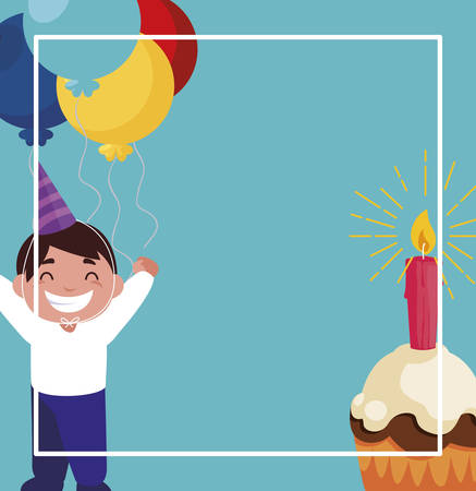 happy boy with birthday balloons helium and cupcake vector illustration design