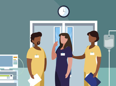 interracial group medicine workers in operating theater vector illustration design