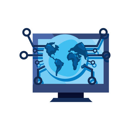 computer world connected cybersecurity data protection vector illustration