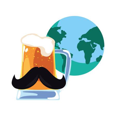 world beer mustache happy fathers day vector illustration Ilustração