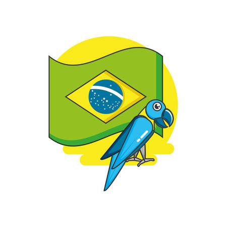 flag of brazil with parrot animal vector illustration design
