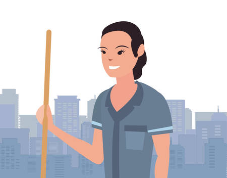 street sweeper woman city profession labour day vector illustration